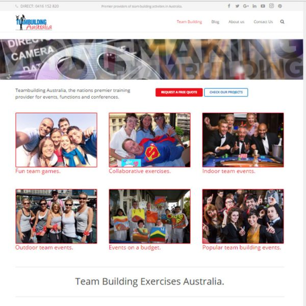 Client web development, team building website.