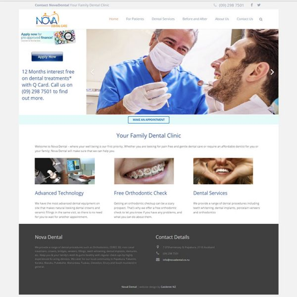 Client web development, dentist website.