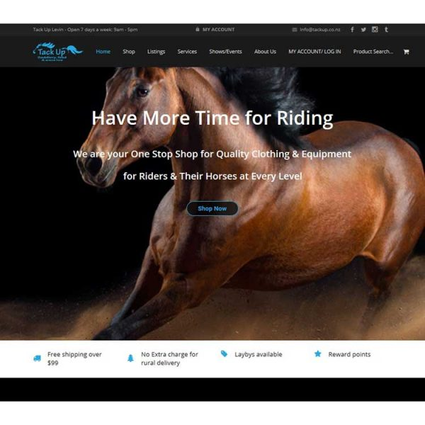 Client web development, ecommerce horse website.